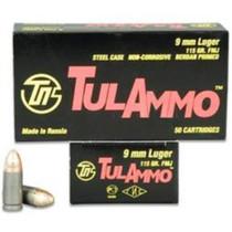 TulAmmo 9mm Full Metal Jacket 115 gr, Steel Case, 100rd/Box