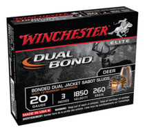 Winchester Dual Bond Fully Rifled Slug 20 Gauge, 3 Inch, 1850 FPS, 260gr, 5rd/Box