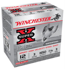 "Winchester Super-X Xpert Steel Waterfowl Load 12 Ga, 3"", 1625 FPS, 1.0625oz, 3 Steel Shot, 25rd/Box"