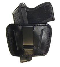 "Peace Keeper Belt Slide Holster S-M Black Leather Fits Belts up to 1.75"""