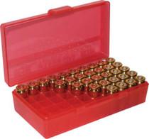 MTM Flip Top Handgun Ammo Box P-50 Series 38-35, Clear Red