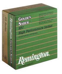 Remington Premier .45 Auto 185 Grain Golden Saber Brass Jacketed Hollow Point