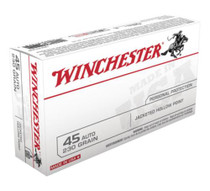 Winchester USA 45 ACP 230gr, Jacketed Hollow Point, 50rd Box
