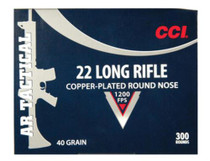 CCI 22LR 40gr, Copper Plated Round Nose, AR Tactical, 1200 FPS 300rd/Box