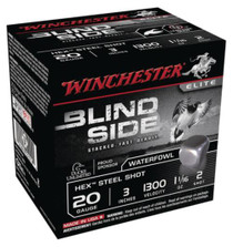 "Winchester Blind Side Steel Hex Magnum Waterfowl 20 Ga, 3"", 1300 FPS, 1.1oz, 2 Shot, 25rd/Box"