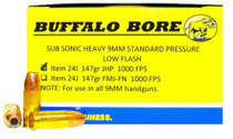 Buffalo Bore 9mm Subsonic 147 Gr, JHP, 20rd/Box
