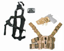 Blackhawk S.T.R.I.K.E. Serpa Combo Kit For Beretta Only Includes Serpa, Belt, Shoulder and Thigh Mounts Size Medium to Large Torso Left Hand Coyote Tan