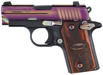 Sig P238 380 ACP 2.7In Rainbow Titanium Finish SAO Siglite Rosewood Grip (1) 6RD Steel MAG MA Compliant