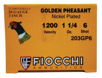 "Fiocchi Golden Pheasant 20 Ga, 3"", 1.25oz, 6 Shot, 1200 FPS, 25rd/Box"