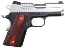 Sig 1911 45 ACP 3.3In 2-Tone Black & Stainless Finish SAO Siglite Rosewood Grip (2) 7RD Steel MAG