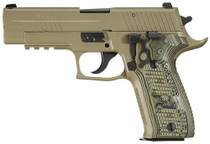 Sig P226 9MM 4.4In Scorpion Flat Dark Earth Da/Sa Siglite Black/Green G10 Grip (2) 10Rd Steel MAG CA Compliant SRT