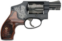 "Smith & Wesson SW Model 442 38 SPL 1 7/8"" Snub Nose Barrel, Engraved Black Finish & Grip, 5 Shot"
