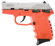 "SCCY CPX-1 9mm, 3.1"", 10rd, Manual Safety, Orange Polymer Grame, Natural Stainless"