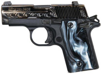 Sig P238 380 ACP 2.7In Black Pearl Nitron Engraved Slide SAO Siglite Black Pearl Grip (1) 6RD Steel MAG