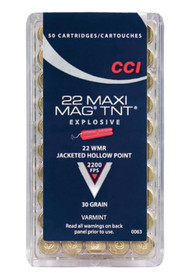 CCI Varmint Maxi Mag TNT 22 Win Mag Jacketed Hollow Point 30gr, 50rd Box
