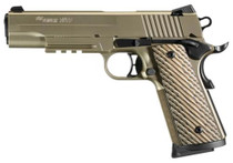 "Sig 1911 45 ACP, 5"" Barrel, Nickel NI PVD SAO Siglite Brown Vector Grip (2) 8RD Steel MAG Rail"