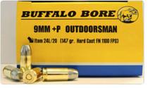 Buffalo Bore Outdoorsman 9mm +P, 147 Gr, JHP, 20rd/Box
