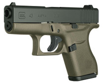 "Glock 43 9mm Single Stack 3.39"" Barrel Fixed Sights OD Green 6rd Mag - Austria Made"