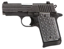 "Sig P938 Compact, 9MM, 3"" Barrel, We The People Engraved Slide, Aluminum Grips, 50 Stars, 7Rd Mag"