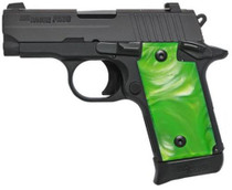 "Sig P238 .380 ACP, 2.7"", Green Pearl Grips, Black, Night Sights, 6rd"