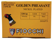 "Fiocchi Golden Pheasant Loads 20 Ga, 3"", 1200 FPS, 1.25 oz, 7.5 Shot, 25rd/Box"