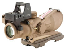 Trijicon Dark Earth Brown ACOG 4x32 Scope Dual Illuminated Red Crosshair.223 Ballistic Reticle, 7.0 MOA Docter Sight Backup Iron Sights ARMS Throw-lever mount and Dust Co