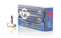 PPU Ammo 9mm FMJ, 115gr, 50rd/Box