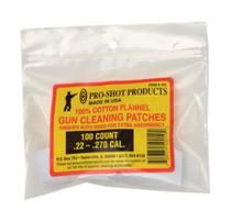 """Pro-Shot Cotton Flannel Patches .22-.270 Caliber 1.125"""" Square, 100/Bag"""