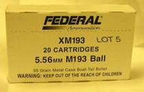 Federal 223 XM193, 55 Gr, FMJ, 20rd/Box