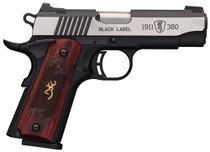 "Browning Black Label Medallion Pro Compact, .380 ACP, 3.62"", 8rd, Rosewood Grips"