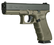 "Glock G17 G4 9mm, 4.48"", 10rd, Fixed Sights, OD Green Frame"