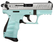 "Walther P22, 22LR, 3.4"", 10rd, Angel Blue Frame, Nickel Slide"