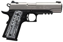 "Browning 1911-380 Black Label Pro Single 380 ACP, 4.25"", SS, Rail, Black, Night Sights, 8+1rd"