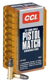 CCI Select Pistol Match 22LR Round Nose 40gr, 50rd/Box