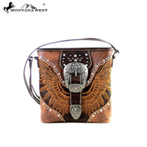 Montana West Buckle Collection Concealed Handgun Crossbody Bag, Brown