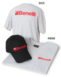 Benelli T-Shirt & Hat Combo Pack, Heather Gray T-shirt, Benelli Black Hat Large