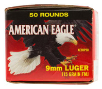 Federal American Eagle 9mm 115gr, Full Metal Jacket, Value Pack, 50rd/Box