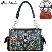 Montana West Buckel Collection Concealed Handgun Satchel - Black