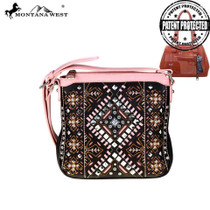 Montana West Aztec Collection Concealed Handgun Crossbody - Coffee