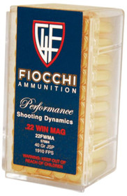 Fiocchi Pistol 22 Win Mag 40gr, Jacketed Soft Point, 50rd/Box