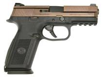 "FN FNS 9, 9mm, 4"", 17rd, Black Interchangeable Backstrap Grip, Bronze Slide"