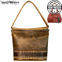 Montana West Trinity Ranch Tooled Leather Collection Concealed Carry Hobo Bag