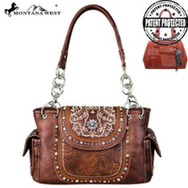 Montana West Concho Collection Concealed Carry Satchel, Coffee