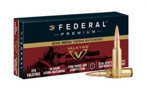 Federal Gold Medal .224 Valkyrie 90gr, Sierra MatchKing Boattail Hollow Point 20rd Box