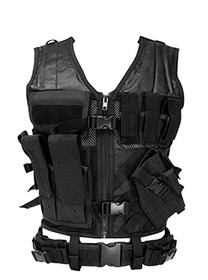 NCStar Tactical Vest Black XL-XXL Tough PVC/Mesh Webbing