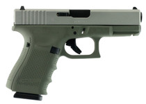 "Glock G19 Gen4 9mm, 4.01"", 15rd, Forest Green Frame, Stainless Steel Slide"