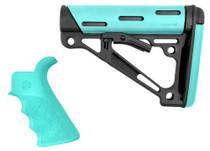 Hogue AR-15 Kit Grip/Collapsing Buttstock COM Aqua