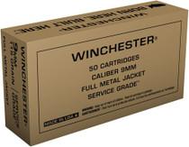 Winchester Service Grade 9mm 115gr, Full Metal Jacket, 50rd Box
