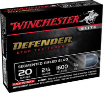 "Winchester Defender Personal Defense 20 Ga, 2.75"", Slug, 5rd/Box"