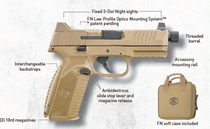 "FN 509 Tactical 9mm, 4.5"" Barrel, Flat Dark Earth, 3 Dot Night Sights, 3x10rd Mags"